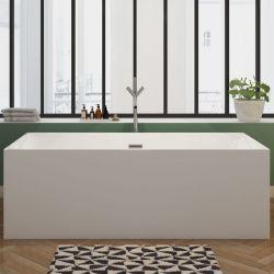 Meuble Double Vasque Blanc Bellissimo B Meuble De Salle De Bain En Quinconce Baignoire Rectangulaire Baignoire Meuble Double Vasque