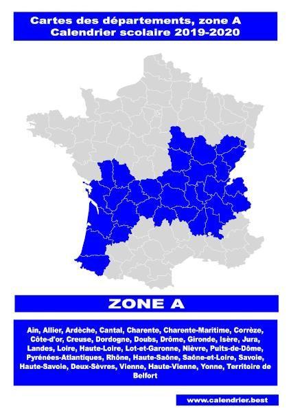 Vacances zone A : carte des départements en 2020 | Calendrier