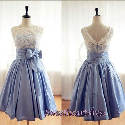 Cute white lace blue satin vintage prom dress for teens, bridesmaid dress, homecoming dress #coniefox #2016prom