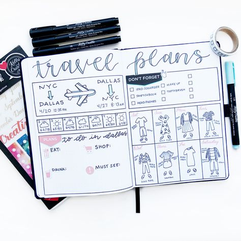 Meagan (@theillustratedplanner) has come up with a brilliant layout for travel plans that I can definitely use in my journal! She's so creative!  Supplies from Kelly Creates: Creative Journal…