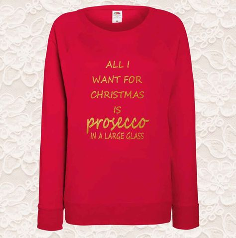 120820ca513c0 Christmas Ladies Jumpers All I Want For Christmas is Prosecco - Prosecco  Seasonal Jumper by DolphinDesignPrint on Etsy