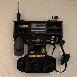 Large Duty And Tactical Gear Rack Double Belt Hanger With Usb 120v Power Strip Police Duty Gear Duty Gear Belt Hanger