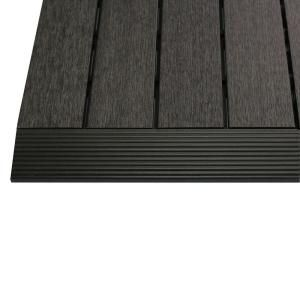 Newtechwood 1 6 Ft X 1 Ft Quick Deck Composite Deck Tile Straight Trim In Hawaiian Charcoal 4 Pieces Box Us Qd Sf Zx Ch The Home Depot Deck Tile Composite Decking Deck