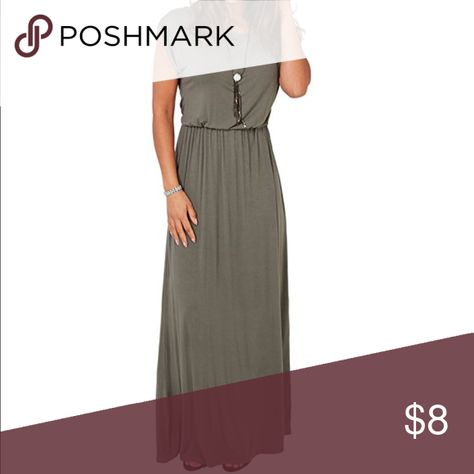 a18674a51807 KRISP Womens Short Sleeve Long Maxi Dress KRISP Womens Short Sleeve Long  Maxi Dress in Khaki Dresses Maxi