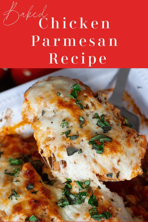 An easy Baked Chicken Parmesan recipe made with parmesan crusted chicken breasts topped with melted mozzarella cheese and fresh basil. Not only is this a healthy version of a classic recipe, but it's a quick and easy family favorite everyone will love! #chickenparmesan #bakedchickenparmesanrecipe #chickenparmigiana | recipesworthrepeating.com