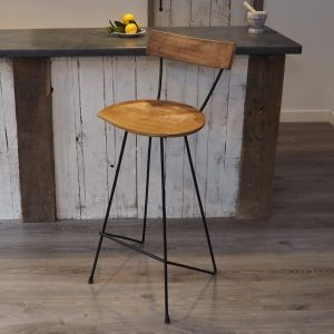 Industrial Bar Stool With Backrest Za Za Homes In 2020 Bar