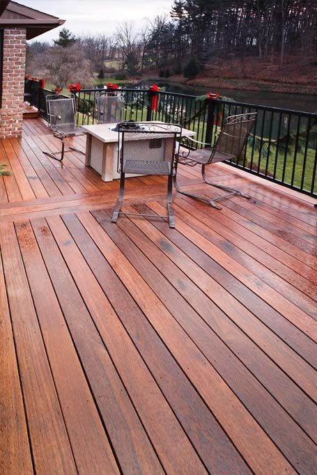 Wood Deck With Black Metal Rails Center Strip With Picture Frame