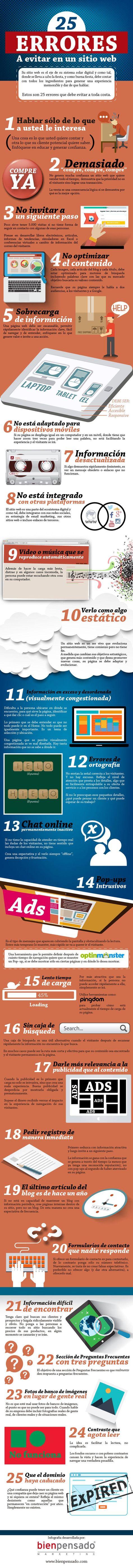 Genial infografía en español que nos muestra los 25 errores habituales que deben evitarse en un sitio web. También consejos para solucionarlos o evitarlos.