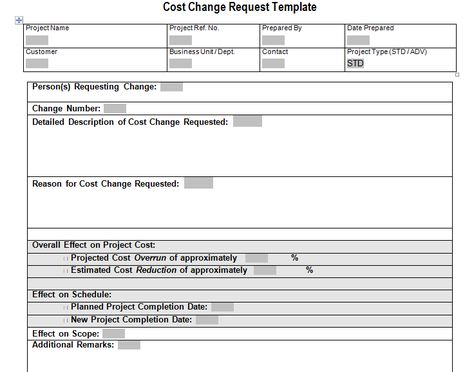 Cost Change Request Download For Project Management Tracking