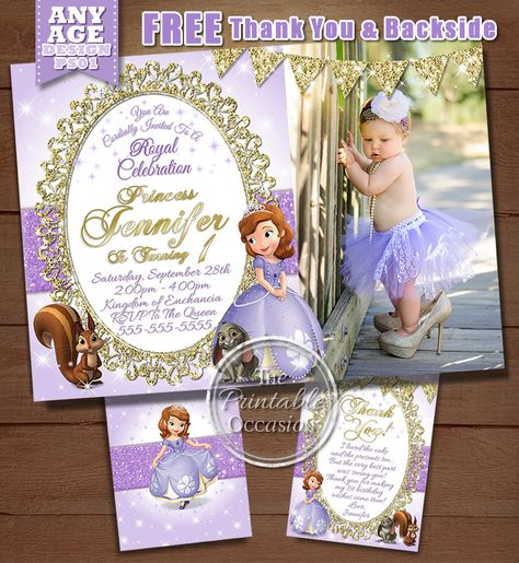 SAME DAY SVC Sofia The First Birthday Invitation Princess Sophia Photo