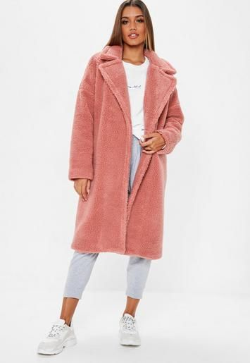 attractive designs hottest sale diverse styles Blush Pink Oversized Chunky Borg Teddy Coat | Missguided ...