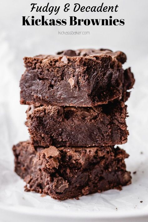 Fudgy, rich, dense, oh-so-chocolately brownies that you and your guests will come back for again and again! | kickassbaker.com #brownies #kickass #mrsfields #chocolate #fudge #fudgy #decadent #thick #dessert #chocolatechips #easyrecipes #nutfree #nutfreerecipes