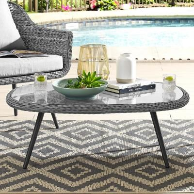 Modway Endeavor Wicker Outdoor Coffee Table In Gray Coffee Table Grey Rattan Coffee Table Outdoor Coffee Tables