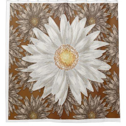 Daisy On Brown Daisy Background Shower Curtain Patterns Pattern