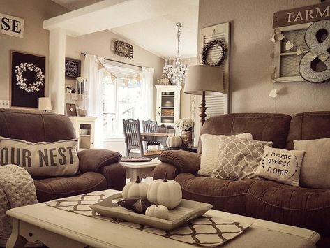 37 Trendy Ideas For Farmhouse Living Room Brown Couch Pillows Brown Living Room Decor Farm House Living Room Living Room Warm