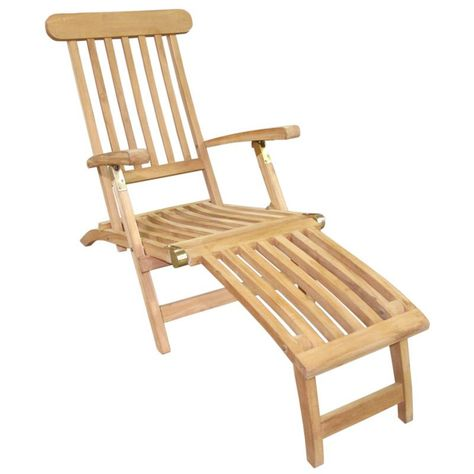 Handmade D Art Teak Steamer Deck Chair Indonesia Natural Brown Outdoor Seating Teak Patio Furniture Sets Outdoor Chairs