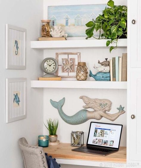 Coastal Style Desk with Shelving and Beach House Decor Create a work area out of a small nook nice! Beach Cottage Style, Beach Cottage Decor, Coastal Cottage, Coastal Style, Coastal Farmhouse, Beach Kitchen Decor, Modern Coastal, Home Office Design, Home Interior Design