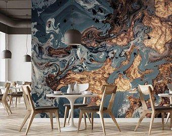 Aquarelle Papier Peint Peel Et Stick Wallpaper Self Adhesive Etsy Gold Marble Wallpaper Blue Marble Wallpaper Tiles Texture