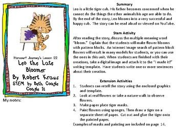Stem Harcourt Journey Lesson 22 Leo The Late Bloomer Leo The