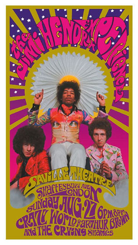 Psychedelic gig poster for Jimi Hendrix in London in 1967 is groooovy