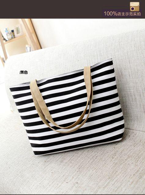 2015 горячая распродажа женская пакета(ов) отпечатано полосатый сумки холст  сумки мода большие пляжные 7743aa7f2fb