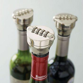 Combination lock bottle stop. Wish I had this when I had roommates ...