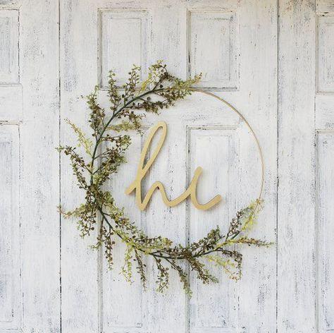 Hoop Wreath,Minimalist, Modern Wreath,Spring Wreath,Front Door Wreath,Wreath With Hi Sign,  #door #Hoop #Modern #sign #springwreathforfrontdoorboho #WreathFront #WreathMinimalist #WreathSpring #WreathWreath