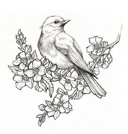 New Flowers Tattoo Drawing Birds Ideas Pencil Drawings Of Flowers Bird Drawings Bird Sketch
