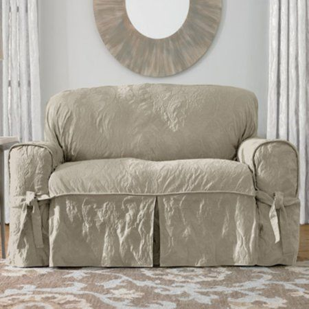 Sure Fit Matelasse Damask Loveseat Slipcover Beige In 2020 Slipcovers For Chairs Loveseat Slipcovers Shabby Chic Couch