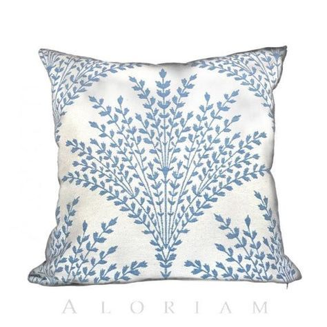 Stroheim Sheaf Summer Sky Blue Cream Floral Botanical Motif Pillow Cushion Cover Cream Colored Pillows Cushion Pillow Covers Blue Pillows Decorative