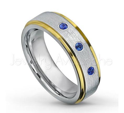 8mm Hammered Finish Comfort Fit 2-toneTungsten Carbide Ring Tungsten Wedding Ring 0.21ctw Tsavorite Garnet /& Diamond 3-Stone Anniversary Band January Birthstone Ring