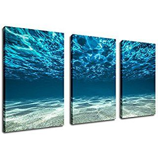Ocean Canvas Wall Art Sea Waves Canvas Artwork 30 X 60 3 Piece Large Canvas Art Picture Prints Underwater Ocean Canvas Large Canvas Painting Large Canvas Art