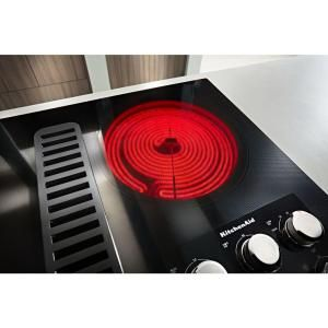 Kitchenaid 36 In Radiant Electric Downdraft Cooktop In Stainless Steel With 5 Elements Kced606gss Electric Cooktop Kitchen Aid Appliances Induction Heating