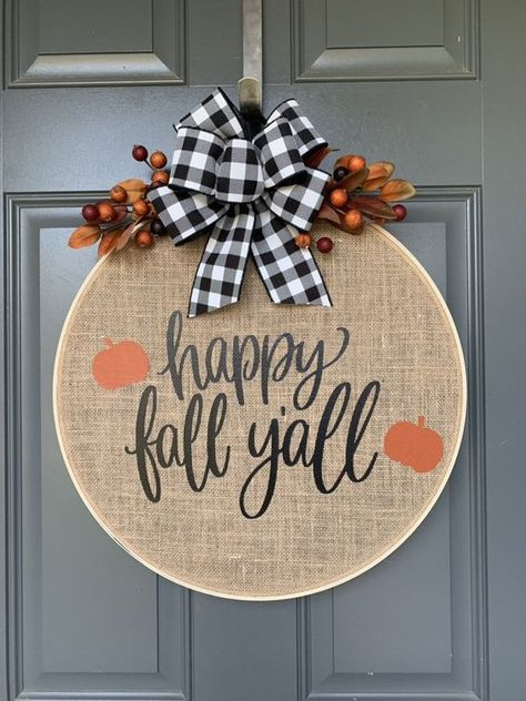 Fall Wreath, Wreaths for front door, Fall Wreaths for Front Door, Burlap Wreath,… - Stickerei Ideen Easy Fall Wreaths, Diy Fall Wreath, Fall Diy, Yarn Wreaths, Winter Wreaths, Floral Wreaths, Ribbon Wreaths, Holiday Wreaths, Spring Wreaths