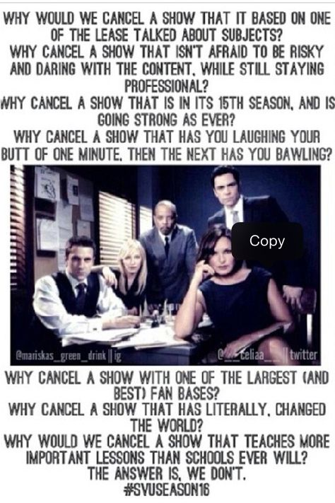 Just Found This Picture And It Is Certainly Correct Renewsvu Please Special Victims Unit Svu Law And Order