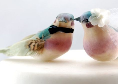 """Charming Love Bird Cake Topper: """"Bride and Groom"""" Wedding Cake Topper in Teal Green and Orchid Purple Becky Kazana http://www.amazon.com/dp/B00F9ATJF8/ref=cm_sw_r_pi_dp_3mDYtb13E103HWKB"""