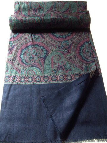Wool And Silk Scarf Paisley Navy Green Pink Vintage Clothing Men Second Hand Designer Clothes Navy And Green