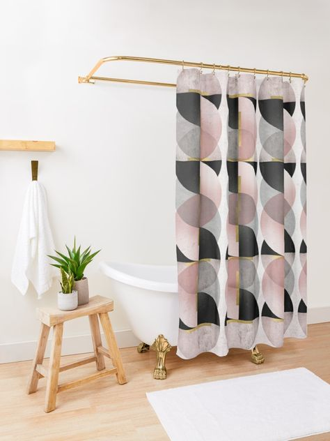 Geometric Art Deco Shower Curtain Curtains Neutral Shower