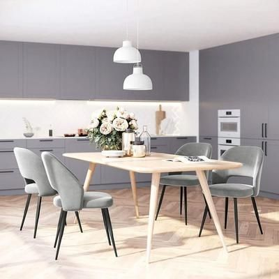 Set Of 2 Scandinavian Dining Chairs Metal Legs Kitchen Chair Gray Velvet Living Chair Ldc81gy Son In 2020 Kitchen Chairs Metal Dining Chairs Scandinavian Dining Chairs