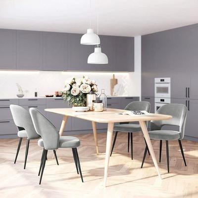 Set Of 2 Scandinavian Dining Chairs Metal Legs Kitchen Chair Gray