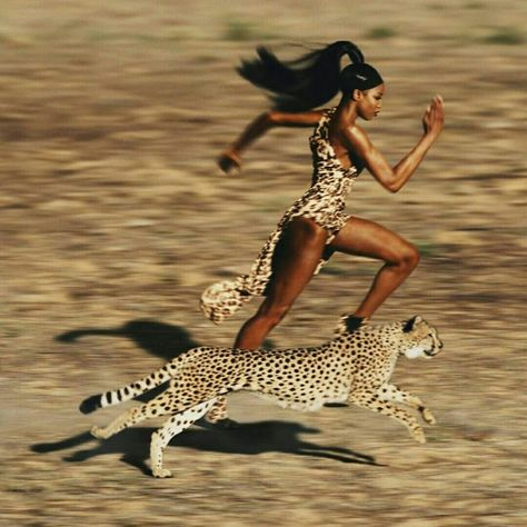 Naomi Campbell running faster than a cheetah. Naomi Campbell running faster than a cheetah. Naomi Campbell 90s, Jean Paul Goude, Mode Collage, Jessica Stam, Style Ethnique, Black Girl Aesthetic, Ellen Von Unwerth, Brian Atwood, How To Run Faster