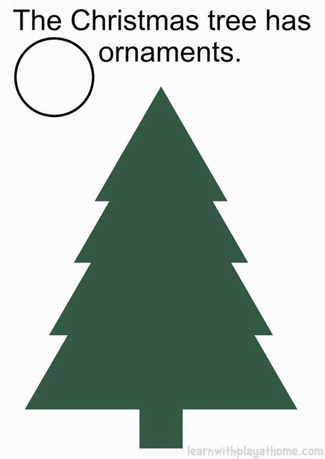 Christmas Tree Play Mat. Free Printable (use with playdough or loose parts for creative play, simple counting, number recognition, reading etc. Add dice for a fun Christmas tree game)