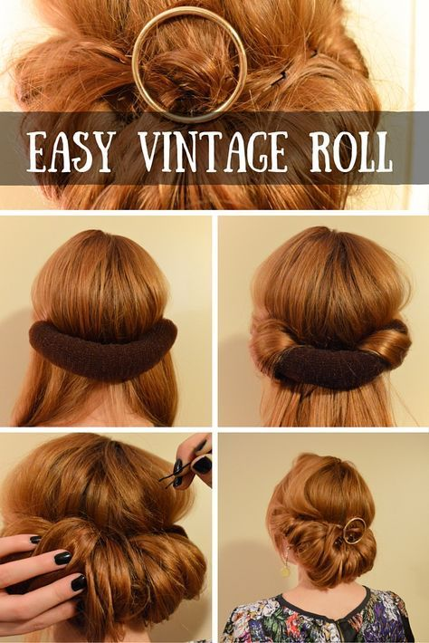 The Easiest Up Do The 3 Minute Vintage Roll Hair Styles Easy Vintage Hairstyles Roll Hairstyle
