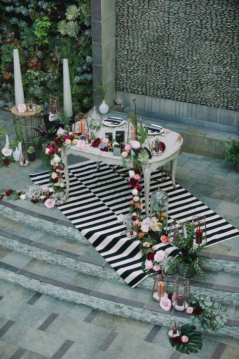 Dramatic Modern Striped Wedding Decor | John Schnack Photography | http://heyweddinglady.com/succulents-sparkles-stripes-modern-socal-wedding/