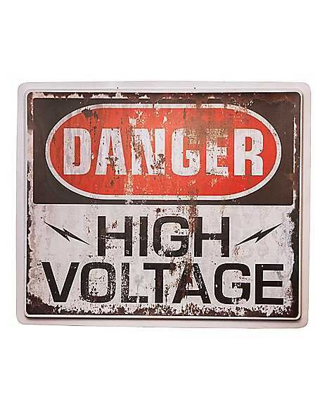 High Voltage Sign Decorations Spirithalloween Com High Voltage Window Wall Decor Wall Signs