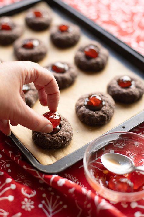 Assembling Chocolate Cherry Thumbprints