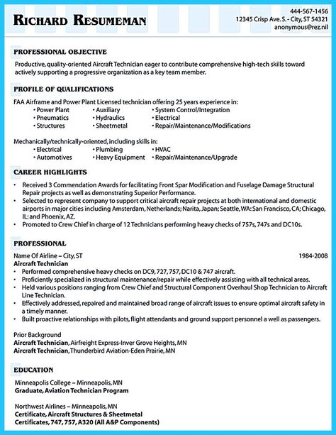 mechanic resume - Aircraft Mechanic Resume