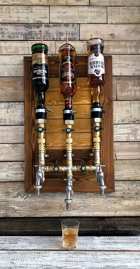 Excited to share this item from my shop: Whiskey Dispenser, Liquor Alcohol Whiskey Liquor Dispenser, Brass & Wood Dispenser, Whiskey Decanter, Jack Daniels Rustic Basement Bar, Basement Bar Designs, Home Bar Designs, Bar For Basement, Home Bar Rooms, Diy Home Bar, Bars For Home, Whiskey Dispenser, Alcohol Dispenser
