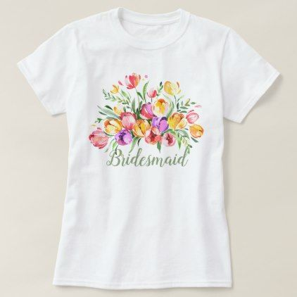 Tulips Colorful Watercolor T Shirt Zazzle Com Flower Shirt