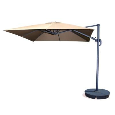 Hampton Bay 11 Ft Led Offset Patio Umbrella In Sunbrella Henna Yjaf052 C The Home Depot Cantilever Patio Umbrella Cantilever Umbrella Patio Umbrella
